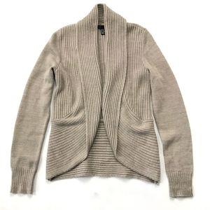 H&M Ribbed Tan Open Drape Cardigan Sweater :068